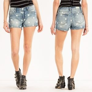 Miss Me Seeing Stars Mid Rise Denim Jean Shorts